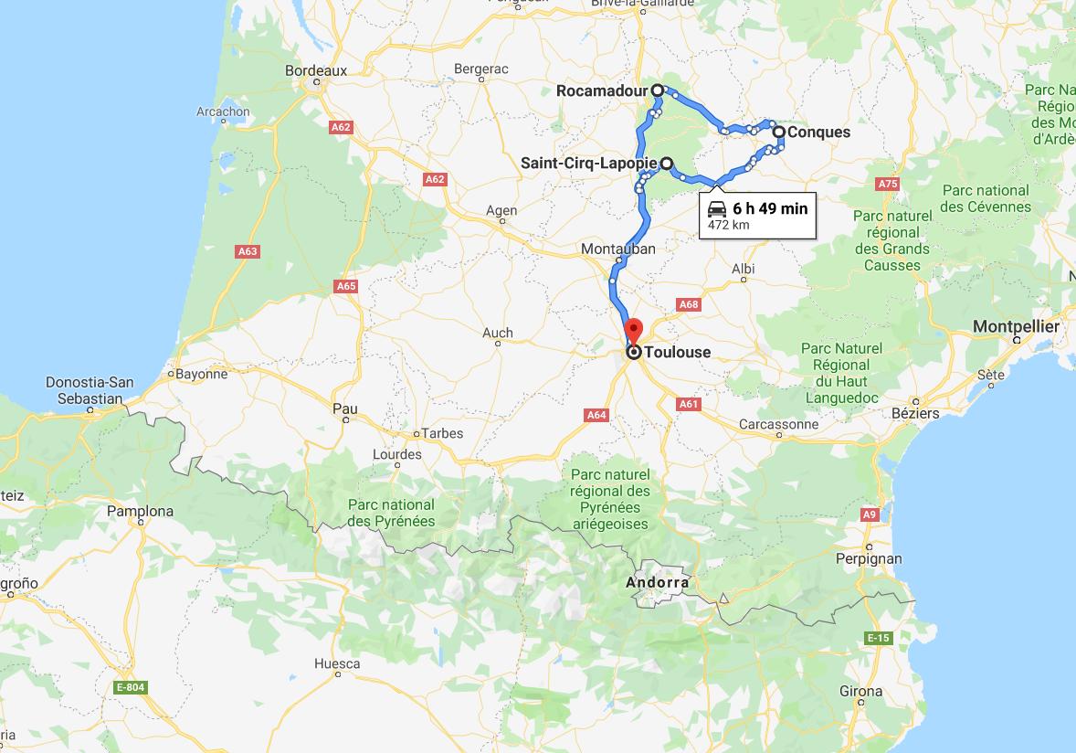 Ruta por Midi-Pyrénées en coche de alquiler.docx